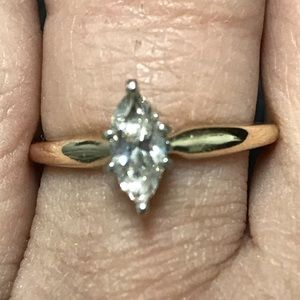 14k Gold .50 CT Diamond Marquise Engagement Ring
